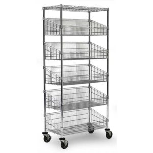 5 Tier Mobile Wire Basket Shelving Unit