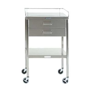 Stainless Steel Instrument Table with Two Drawers