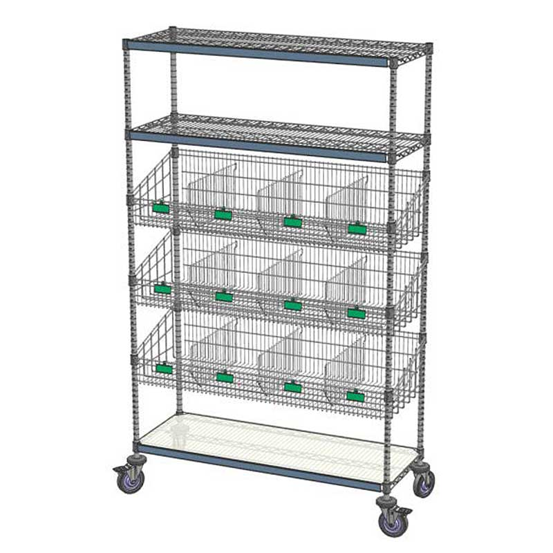 Combination Shelving Unit 3 Flat/3 Basket